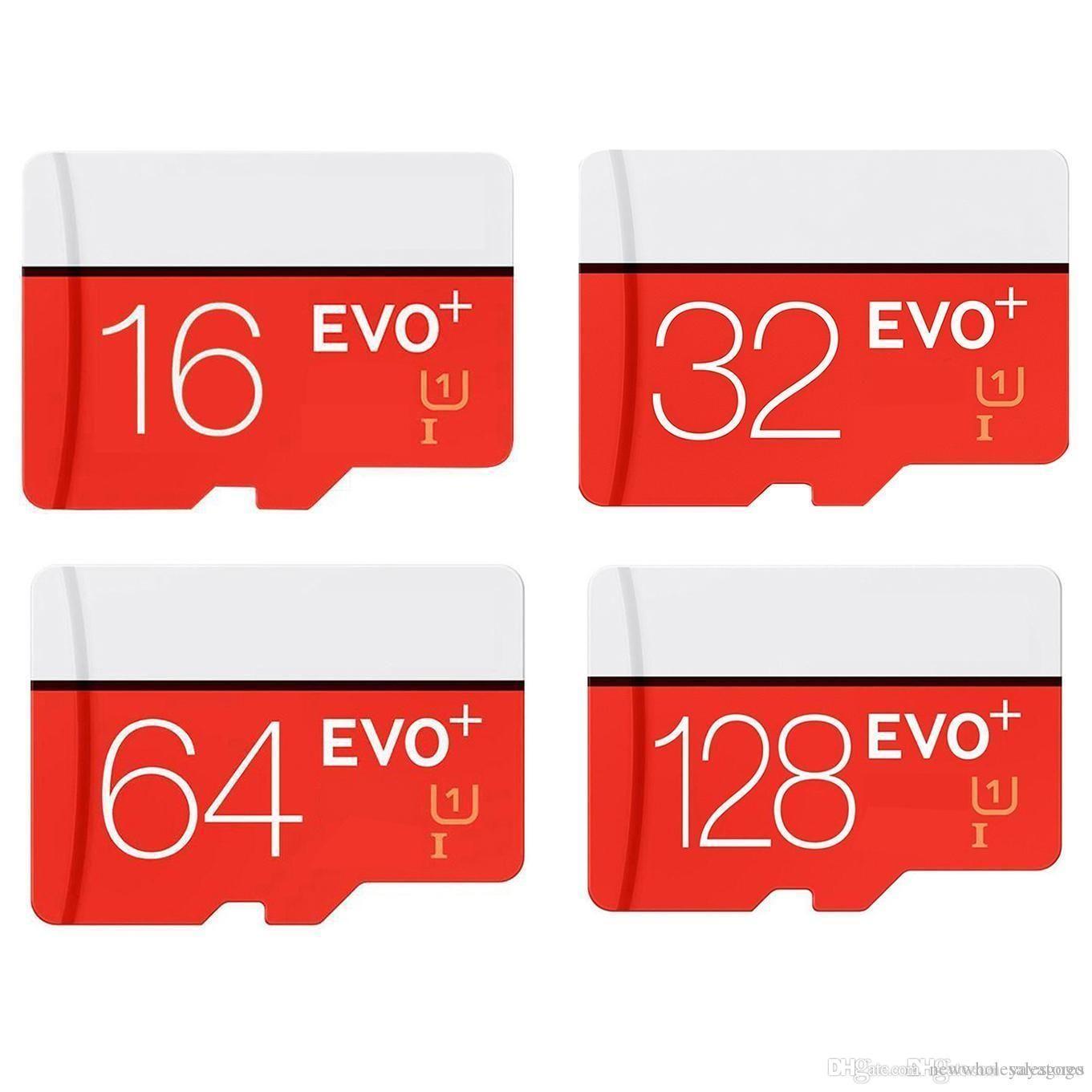 UK Großhandel ECHTE KAPAZITÄT 128 GB 64 GB 32 GB 16 GB EVO PLUS EVO + Micro SD TF Flash-Karte 90 MB / s 80 MB / s U1 U3 Hochgeschwindigkeitsklasse 10 U327