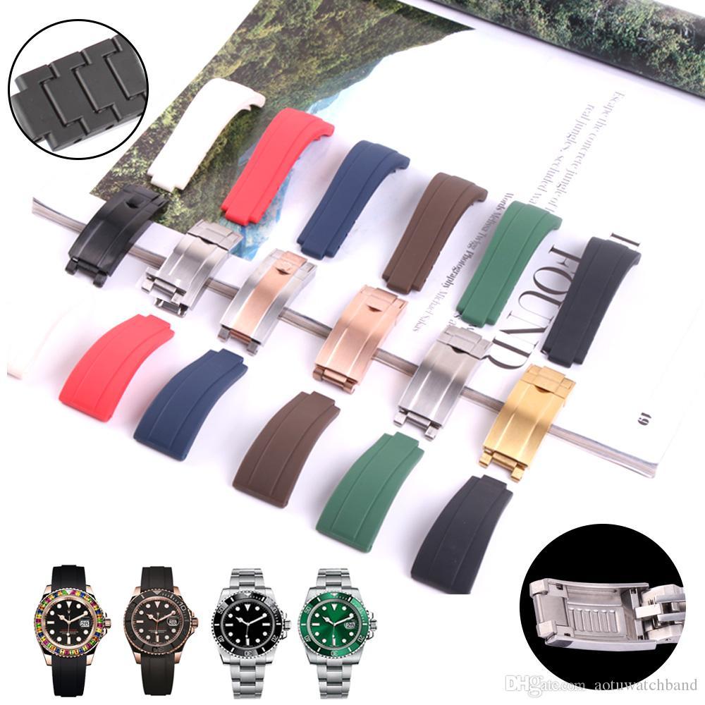 Imperméable en caoutchouc Bracelet en acier inoxydable Boucle Fold Montre bracelet pour bande GMT Oysterflex Bracelet Montre Homme 20 mm Noir Bleu Rouge Marron