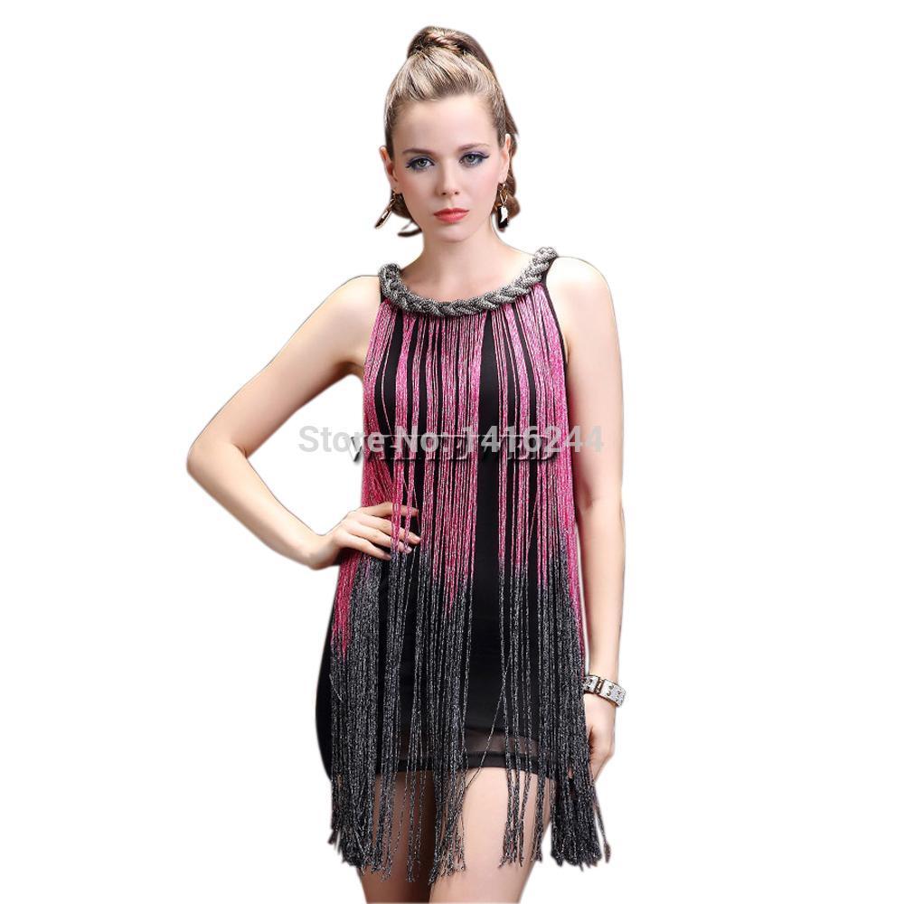 Визуальных 20 'Мода Charleston Рок Джаз Коротких Singer танец DS костюмы кисточка Fringe Scoop цепи палубных шея платье
