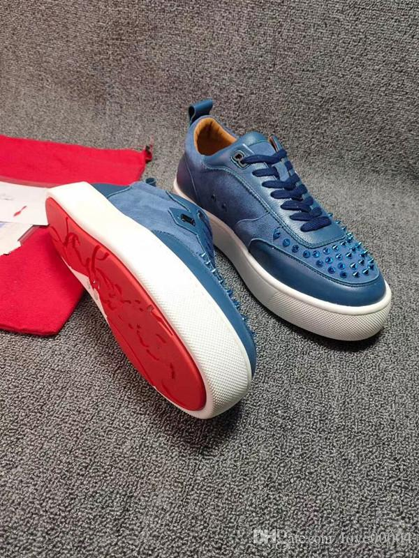 NEW Designer Sneakers bottom is red shoe Low Cut Suede spike Shoes For Men and Women Luxury Shoes Party Wedding crystal Leather Sneak ha0611