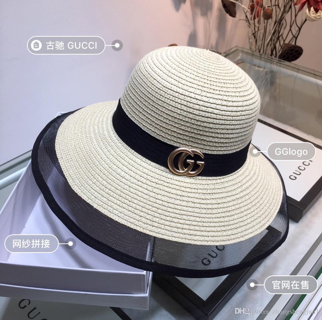 New top classico caldo vendita famoso marchio signore cappello da sole all'aperto per il tempo libero viaggio progettista erba tessitura signore cappello da sole con la scatola
