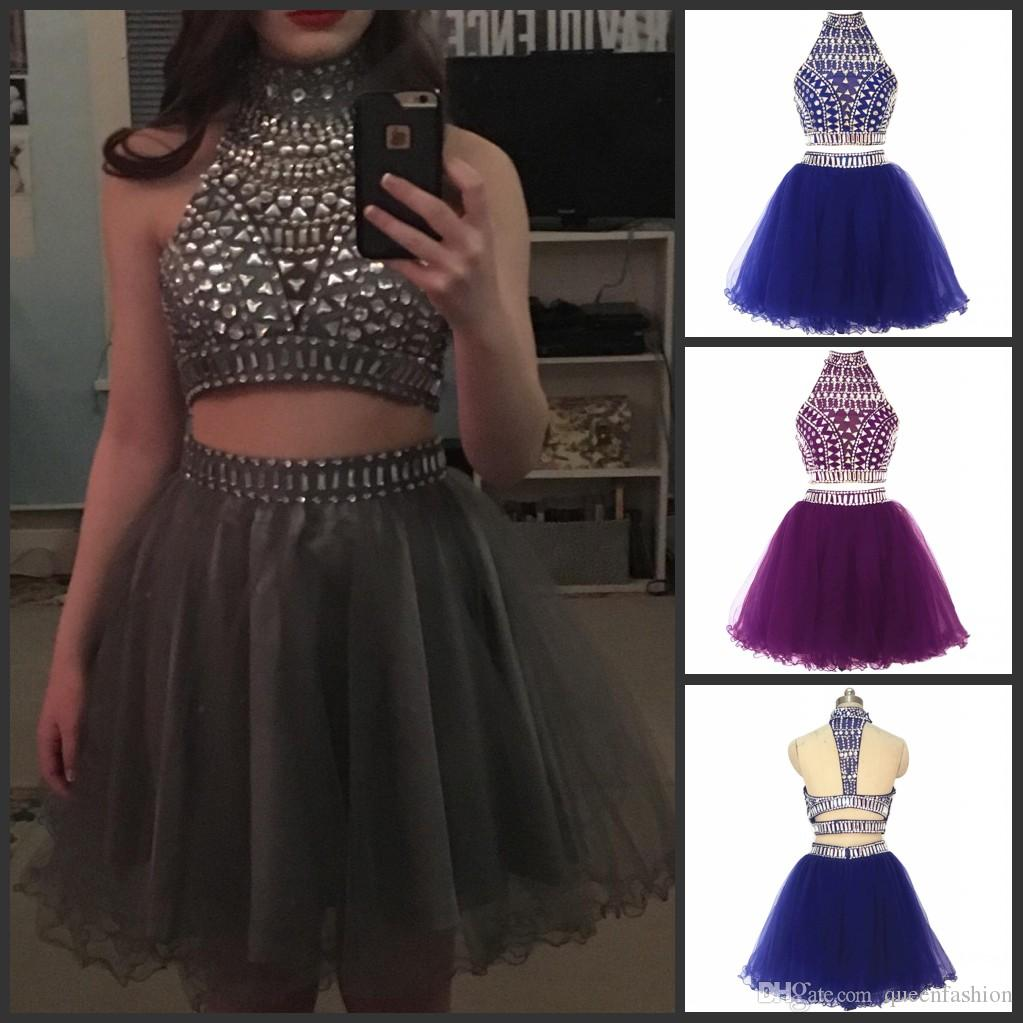 Short Two Piece Prom Dresses 2021 Rhinestone Crystal Beaded Sweet 16 Dresses Halter Junior Puffy Tulle Homecoming Graduation Gowns