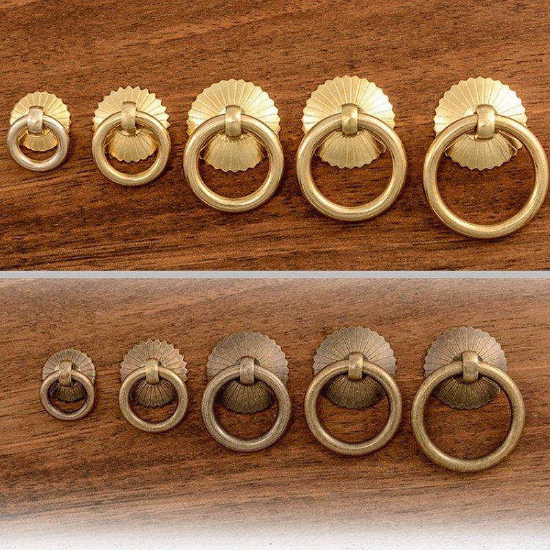 Latón de la vendimia del gabinete de cocina perillas anillo tirones Cajón pequeño armario puerta del guardarropa Tire Maneja precio de fábrica