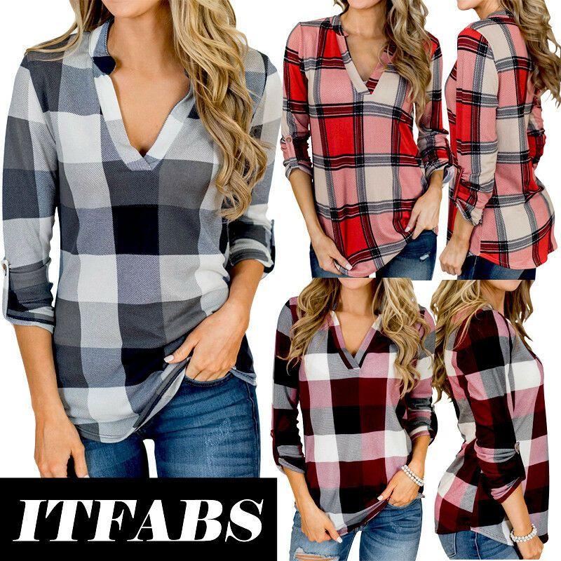 Tela escocesa de la vendimia de las mujeres con cuello en V blusa ocasional Tops Botón Camiseta de manga larga atractiva hembra de la camisa a cuadros blusa ocasional más el tamaño S-XXL