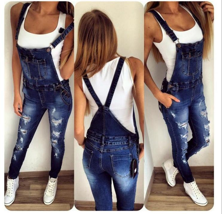 Autumn and winter new cross-border sports for sports shoulder straps hole denim jumpsuit women's casual wholesale