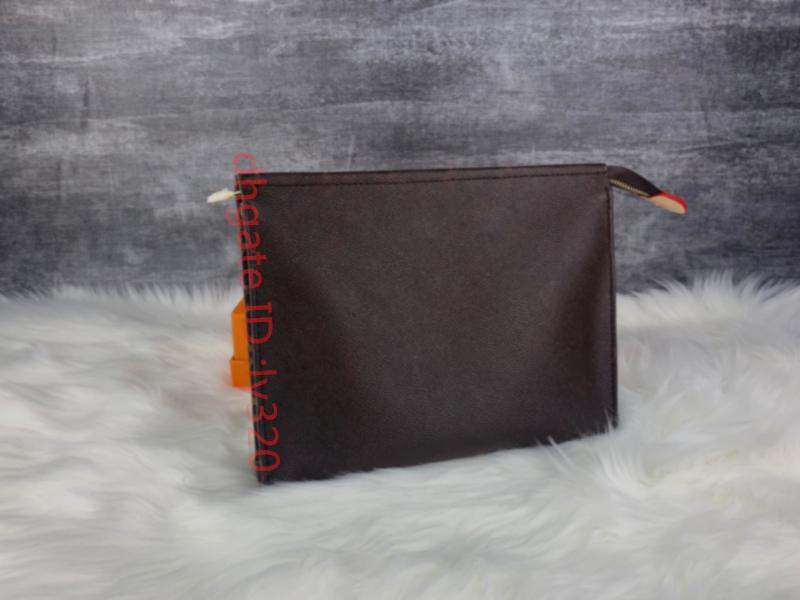Hotsales viagem de Higiene Pessoal Pouch 26 cm Proteção Maquiagem Clutch Womennew de couro genuíno impermeável 19 cm sacos de cosméticos para mulheres + saco de poeira