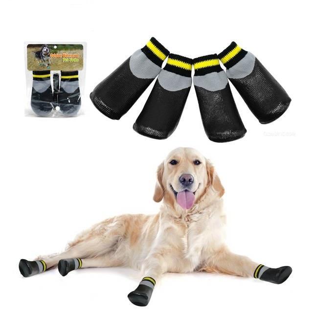 Ropa de perro impermeable al aire libre Mascotas Calcetines de lluvia Ropa antideslizante anti deslizamiento de algodón zapatos elásticos con cinturón fijo para todas las razas Chihuahua Poodle Dogs Boot