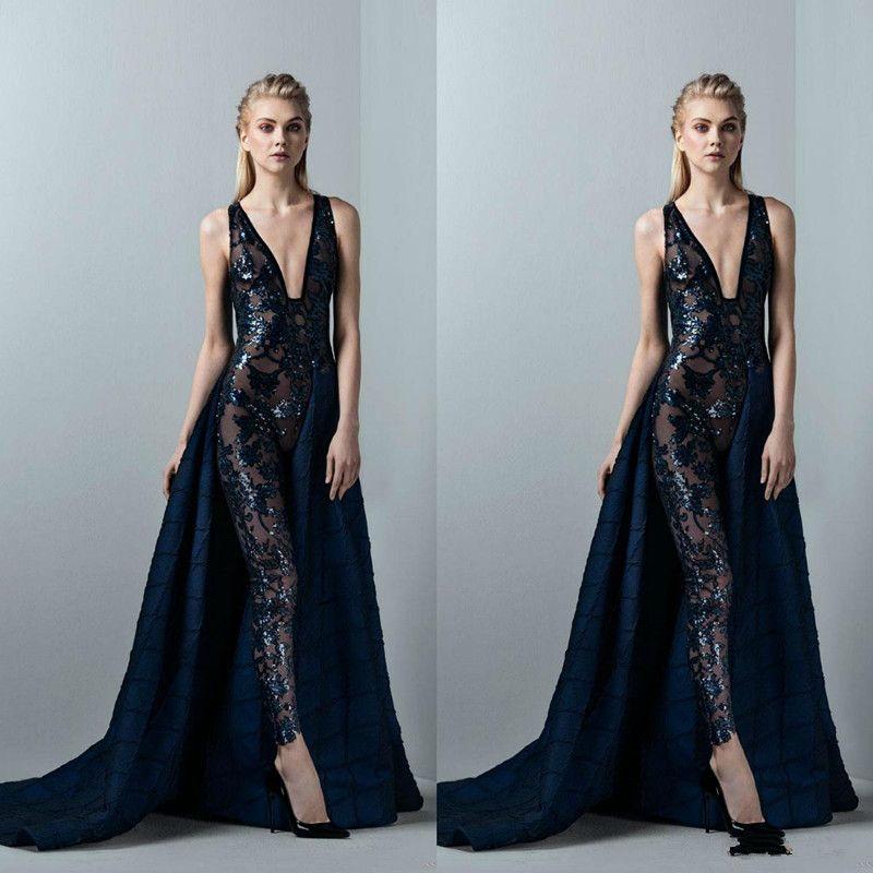 Escuras da marinha Macacão Sexy Prom Dresses com destacável Saia Lace Applique lantejoulas Vestido de Noite Profunda V Neck Formal vestido de festa