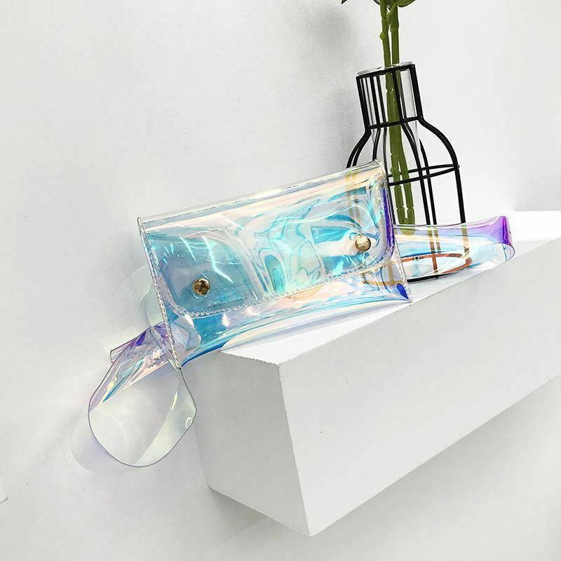 Holográfica a laser de flash pochete moda geléia saco transparente cintura viagens de lazer cor feminino mini bolsa
