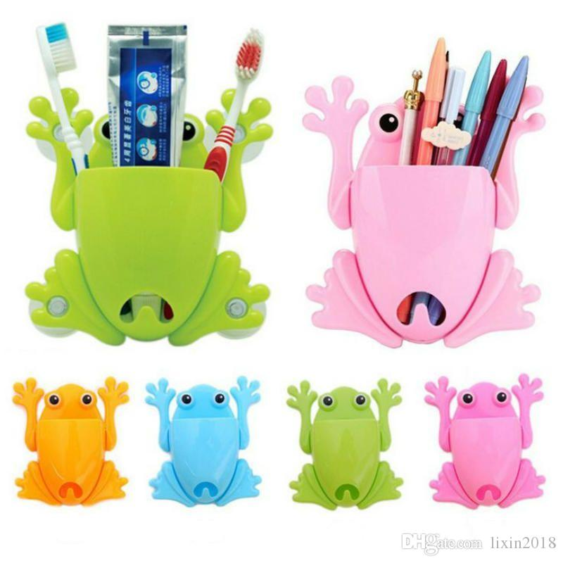 크리 에이 티브 어린이 키즈 만화 모양 개구리 플라스틱 칫솔 홀더 석션 후크 칫솔 벽 흡입 욕실 액세서리