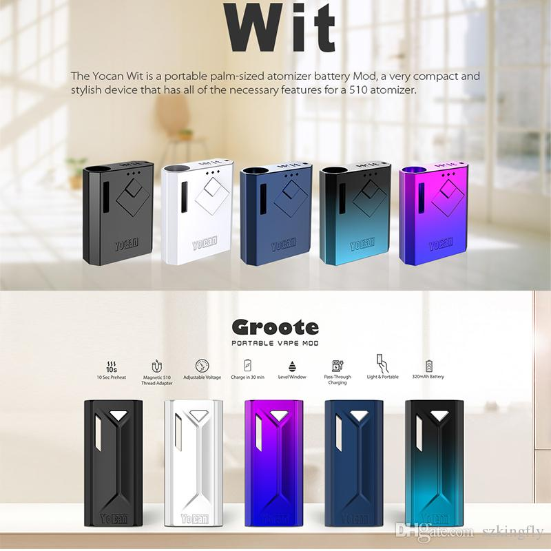 Original Yocan Wit Groote Box Mod Kit 500mAh Preheat VV Battery Adjustable Voltage Fit 510 Thread Oil Cartridges E Cigarette Kits