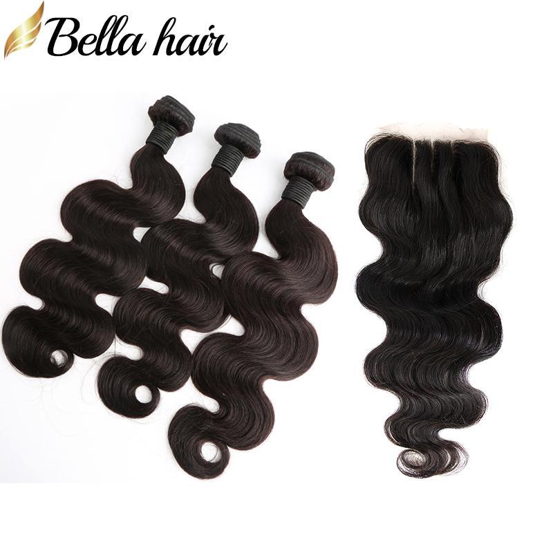 Peruviaanse menselijke haarbundels met sluitingen Body Wave Haar Weefs met Kantsluiting 3 Deel Virgin Hair Extension Bellahair