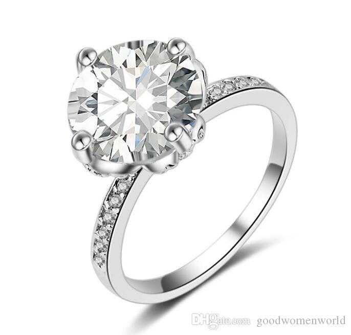 Anello di fidanzamento con diamante sintetico TRASPORTO LIBERO veloce semi semi 18k oro bianco anello di diamanti Anello doppio diamante con doppio strato