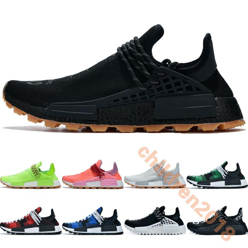 Erkekler Kadınlar Için NMD HU Pharrell Koşu Ayakkabıları 2019 Tasarımcı İnsan Yarışı Siyah BBC Yeşil Ekose Nerd Açık Spor Sneakers Boyutu 36-47