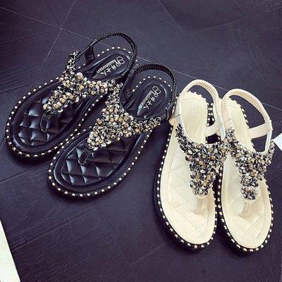 Противоскользящие дышащие женские сандалии 2019 лето новый модный дизайнер клипсы из бисера горный хрусталь гладиатор сандалии роскошные женские сандали
