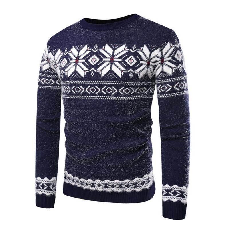 MJARTORIA 2019 Neue Herbst Winter Weihnachten Pullover Männer Snow Deer Gedruckt Kintted Wear Jumper Slim Fit Männlichen Weihnachts Pullover