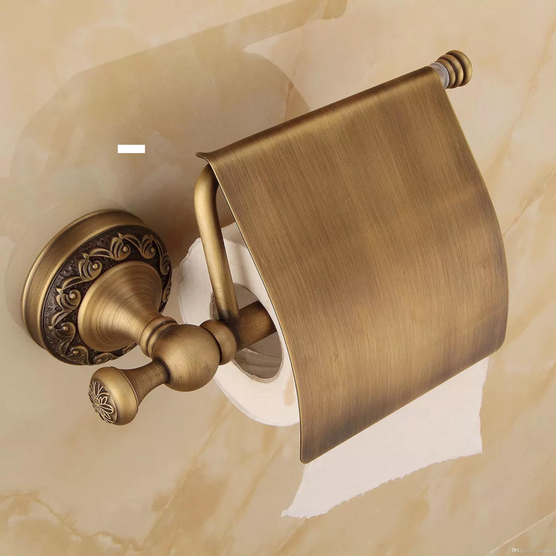 Antik Pirinç Kağıt Havlu Raf Avrupa Stili Banyo Kağıt Tutucu Avrupa Tuvalet Kağıdı Kutu Tuvalet Aksesuarları