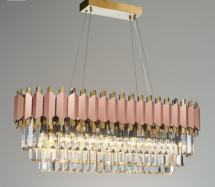 Modern Luxury Chandelier Rose Gold Club Villa Duplex Designer Modèle Salon Rectangl cristal lumières LED Lampes de mariage Pendant LLFA