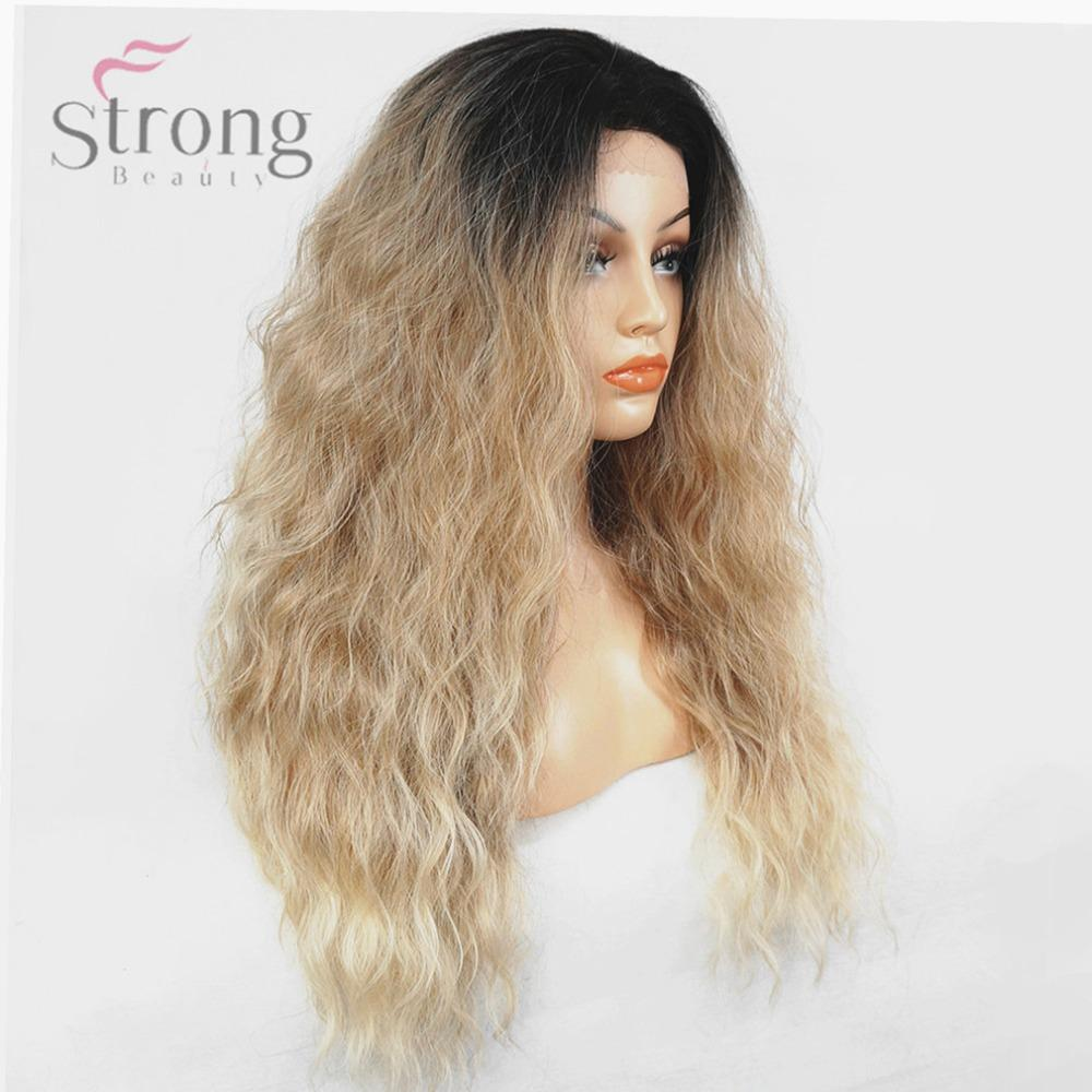 Women's Lace Front Wig Ombre Hair Kanekalon Synthetic Hair Long Fluffy Natural Wavy Dark root Wigs