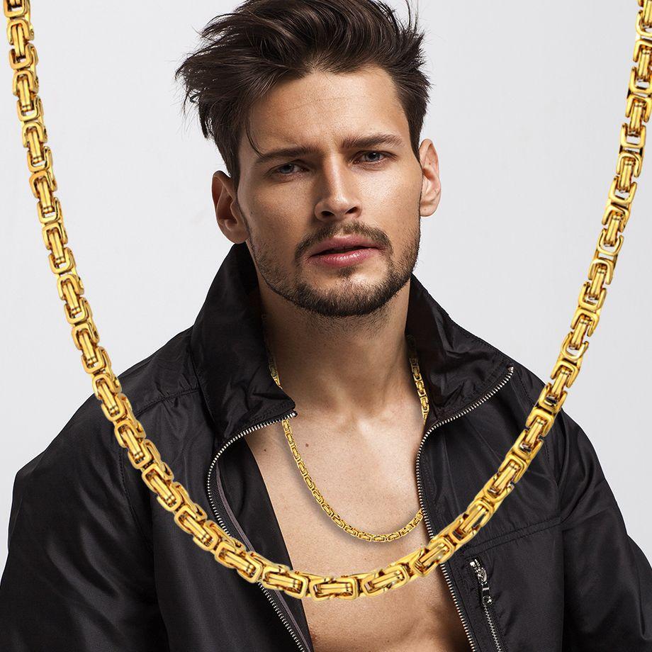 2019 Высокого качества византийского Box Заявление Men Золото Серебро 4ммы из нержавеющей стали Choker цепи ожерелья