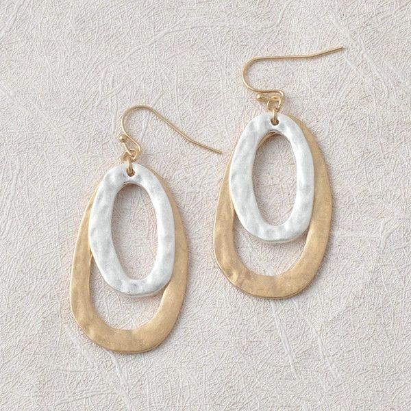 Los pendientes de gota de plata martillada geométrica de la moda de Nueva doble chapado en oro oval abierto para la Mujer clásico Waterdrop Accesorios Declaración de joyería