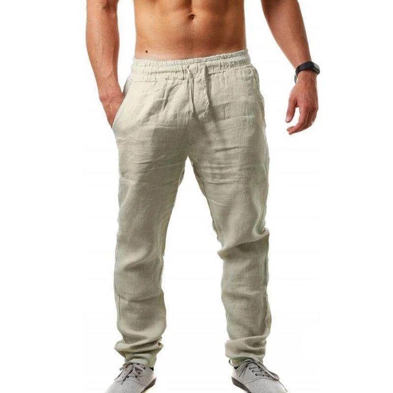 Мужские льняные длинные брюки Мужские брюки Дизайнерские HOMME вскользь кальсоны мужские Hip Hop Fit Мода Одежда
