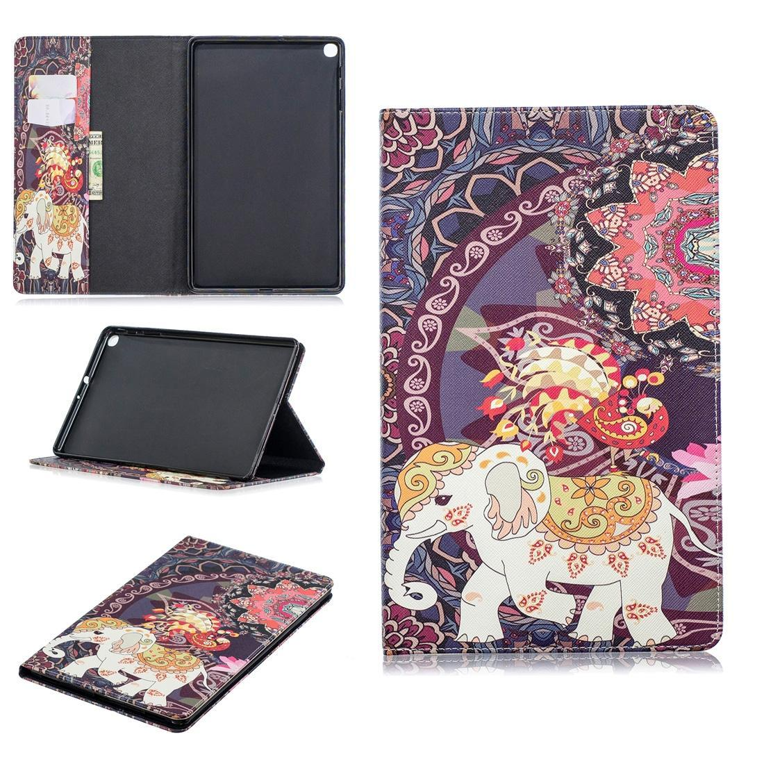 Colored Drawing Flower Elephant Pattern Horizontal Flip Leather Case for Galaxy Tab A 10.1 T510 / T515, with Holder & Card Slots & Wallet