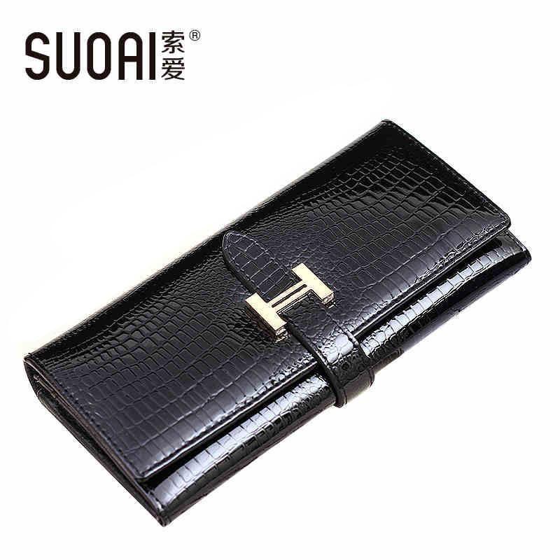 Atacado-SUOAI 2017 de alta qualidade de couro genuíno Carteiras Mulheres Long Bolsa Vintage Alligator Genuine Leather Wallet