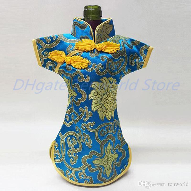 100PCS Luxury Cheongsam Wine Bottle Bag Cover Bottle Packaging Gift Bags Chinese Silk brocade Table Decoration Wine Clothes