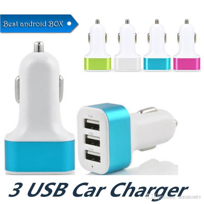 Dual Port Car USB Charger Adapter For Iphone X 8 Plus Samsung Galaxy Note8 USB Universal Socket 3 Port Car-charger 5V for cellphones