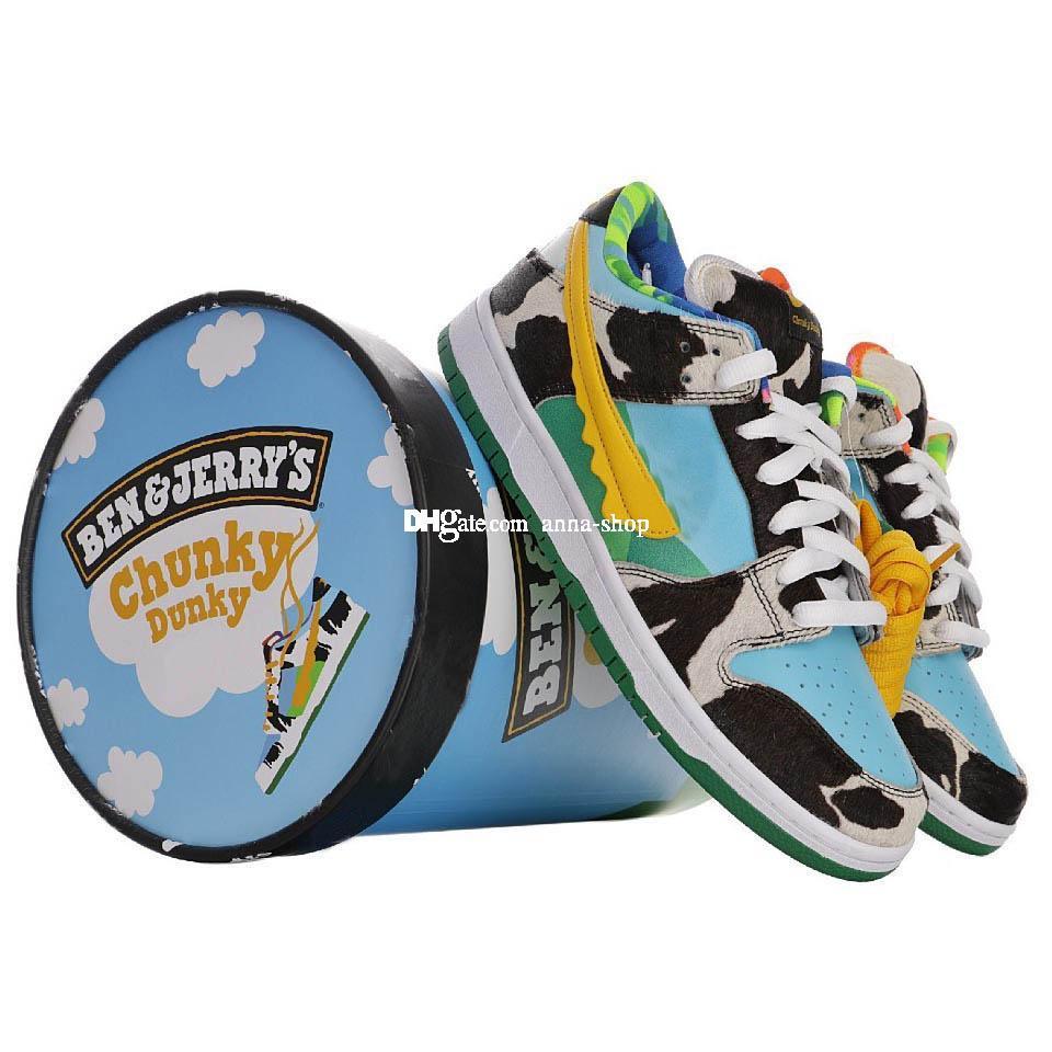 С коробкой мороженого Ben кроссовки для мужчин Джерри молока кроссовки мужские толстые пуки скейт обувь Женские коньки спортивный классический удобную женской обуви