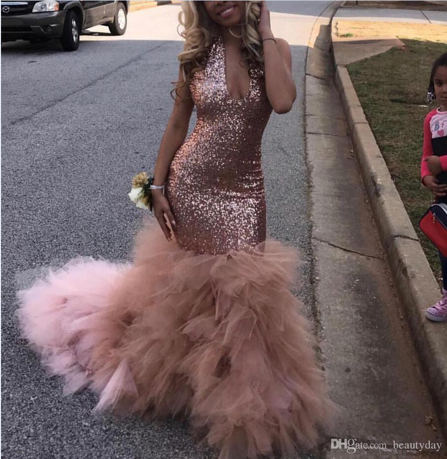 Rose Gold Abendkleider Funkelnde Pailletten Spitze Tüll Meerjungfrau V-Ausschnitt Abendkleid Vestido De Festa Frauen Formale Party Kleider