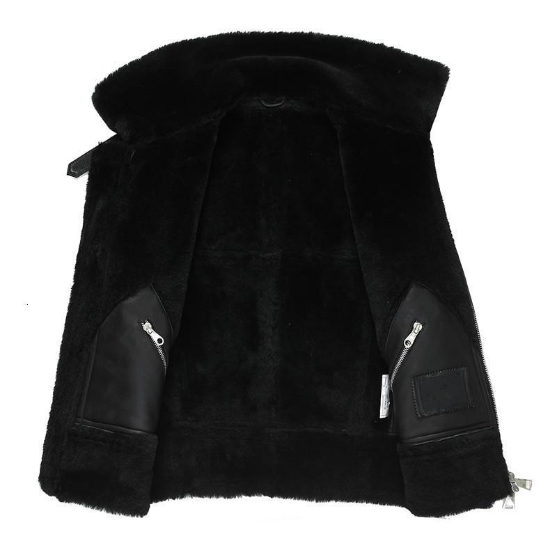 Brand Runway Men Genuine Leather Jacket Warm Lamb Wool Real Fur Lining Winter Biker Coat 6XL Shearling Jacket Streetwear