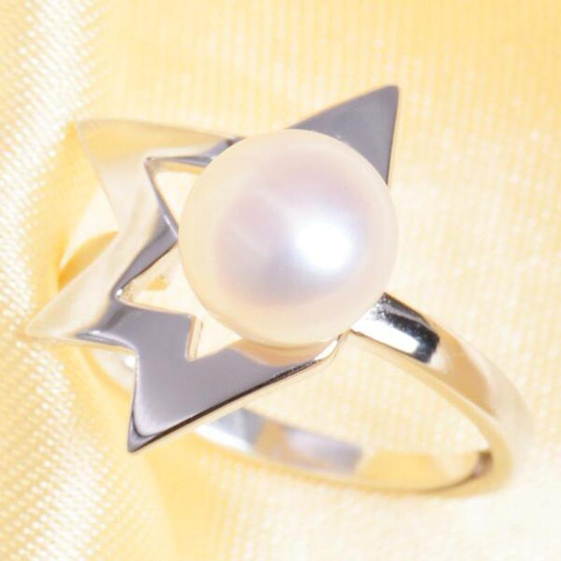 ASHIQI Freshwater Pearl 925 Sterling Silver Irregular Star Rings 8-9mm Natural Pearls Ring for women