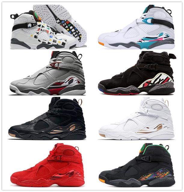 Nike Air Max Retro Jordan Shoes Jordán NakeskinGiordaniaRetro 8 8s Uomini scarpe da basket CoolGrey Chrome Countdown pacchetto OVO Nero Bianco Playoff Aqua