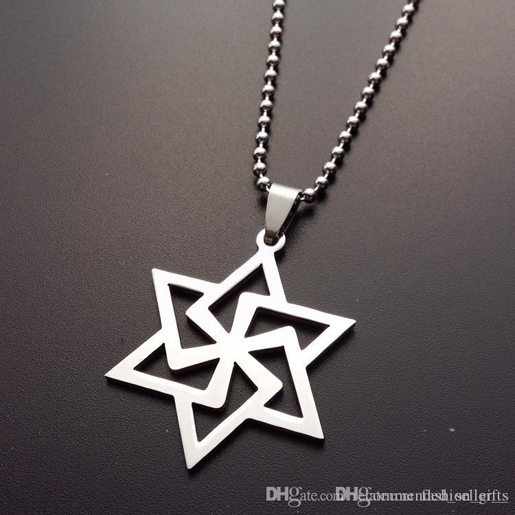 10pcs stainless steel magic six-pointed star pendant necklace hollow geometric hexagon necklace girl love Hexagonal shape necklace jewelry
