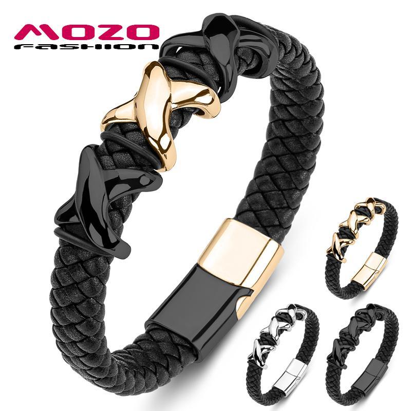 MOZO Moda Uomo Bracciale intrecciato vera pelle in acciaio inox Trendy Bracciali punk braccialetto della traversa collocazione Jewelry 174
