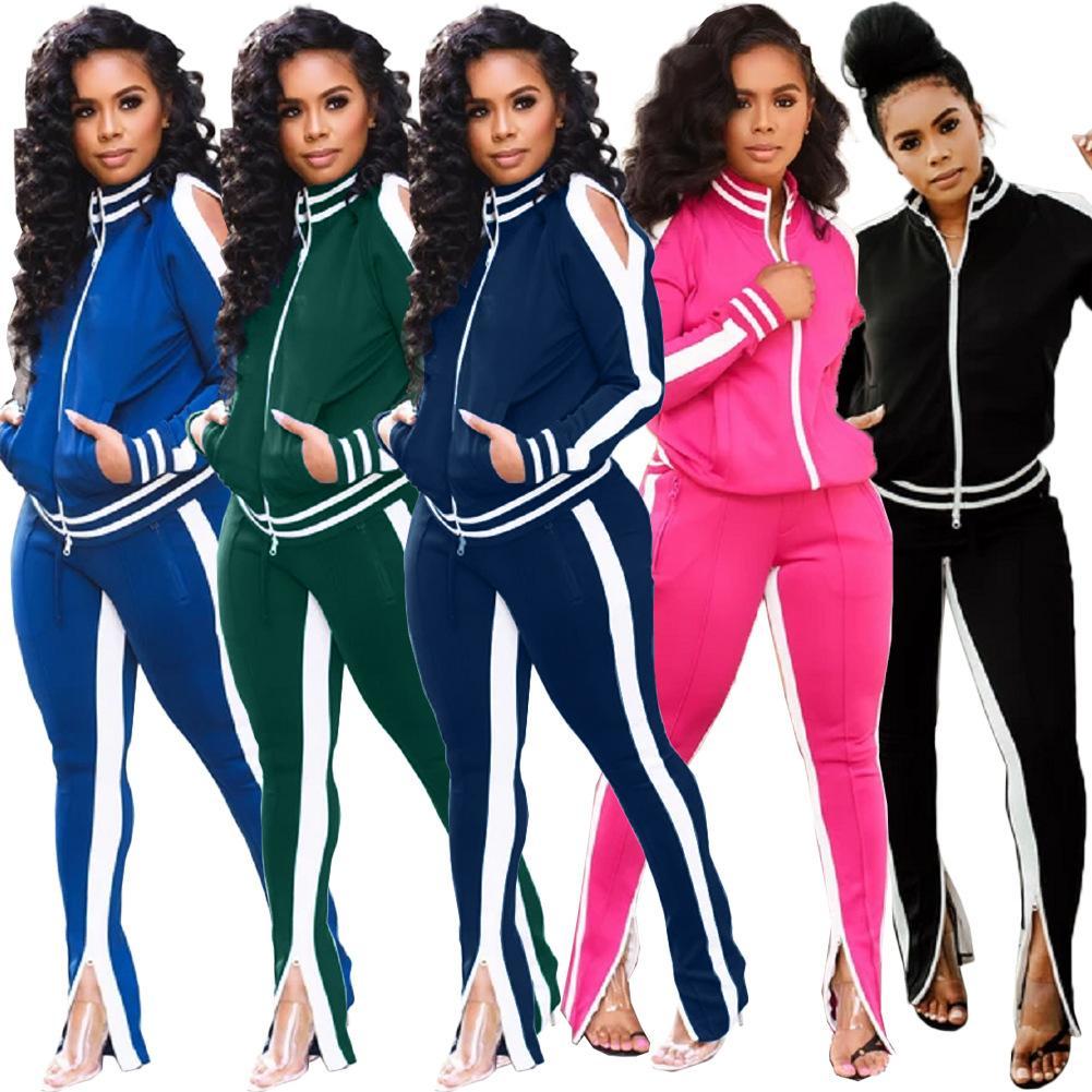 sports féminins modèles conviennent d'automne et d'hiver sports de loisirs européens et américains de la mode sportswear conviennent d'épissage de tendance en deux parties