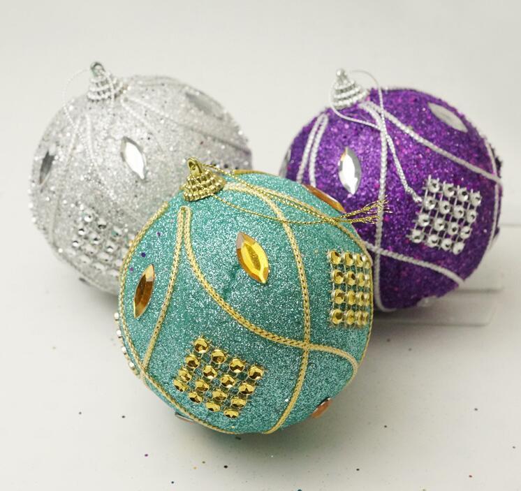 Neue Ankunfts-freies Verschiffen 6pcs / lot 8cm Weihnachtsbaumdekoration Silber Qualität Schaum / Pailletten Weihnachtskugel