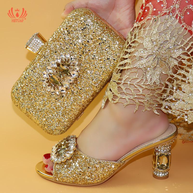 Nouvelle arrivée italienne Femmes de mariage Pompes de couleur d'or pour chaussures pantoufle de soirée de mariage des femmes africaines Chaussures et Sacs Set Bonne qualité