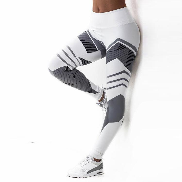 New Factory Direct Geometric Impressão Digital Yoga fitness Hip alta cintura Sports Leggings