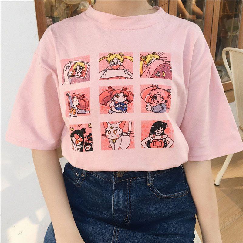 여름 여성의 패션 대형 캐주얼 하라주쿠 만화 편지 ulzzang 선원 문 짧은 소매 재미 반 티셔츠 BLWG02