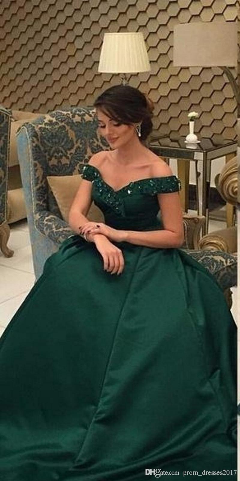 Custom Made Plus Size Graceful Modest verde escuro árabe Vestido Cheap Chic A Line Sem Costas Longo Formal Wear Partido Vestido