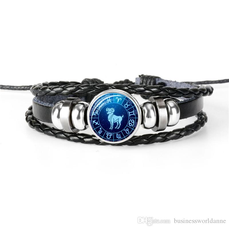 New Design Creative Brand Top Quality 12 Constellations Zodiac Aries Time Gem Glass Dome Jewelry Silver Bead Leather Rope Bracelet Best Gift