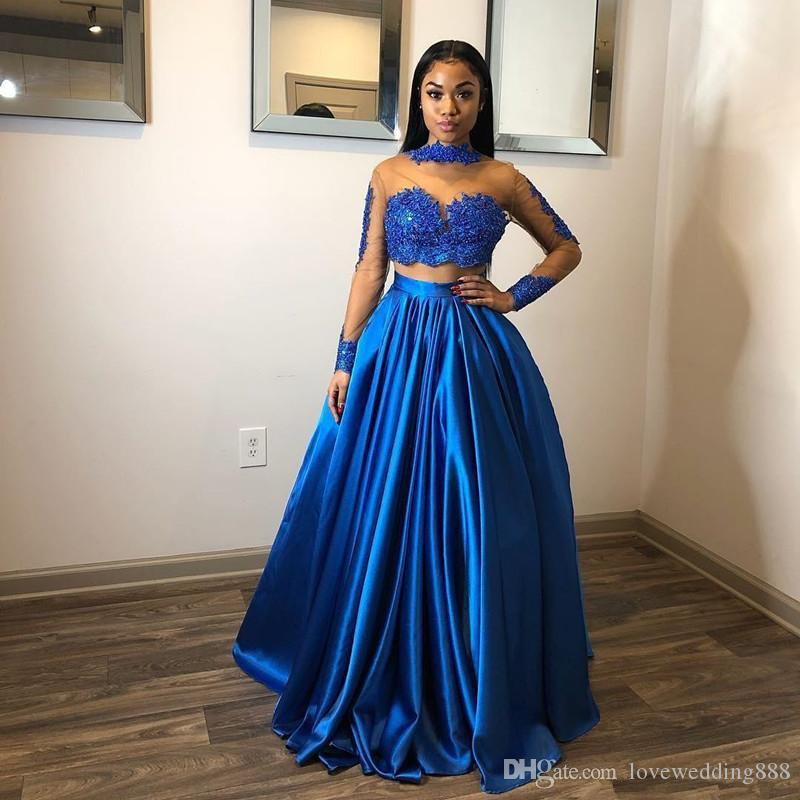 Sheer Long Sleeves Evening Dresses with Lace Applique Two Pieces Party Gowns Long Ruched A Line Satin Prom Dress