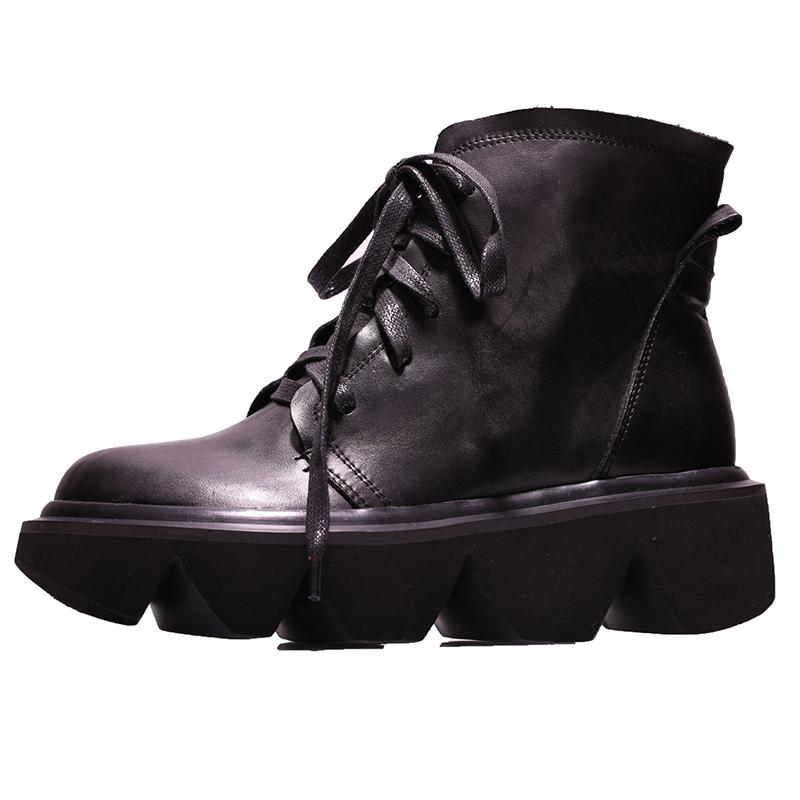 Boots VALLU 2021 Autumn And Winter Leather Thick Bottom Short Women Casual Round Head