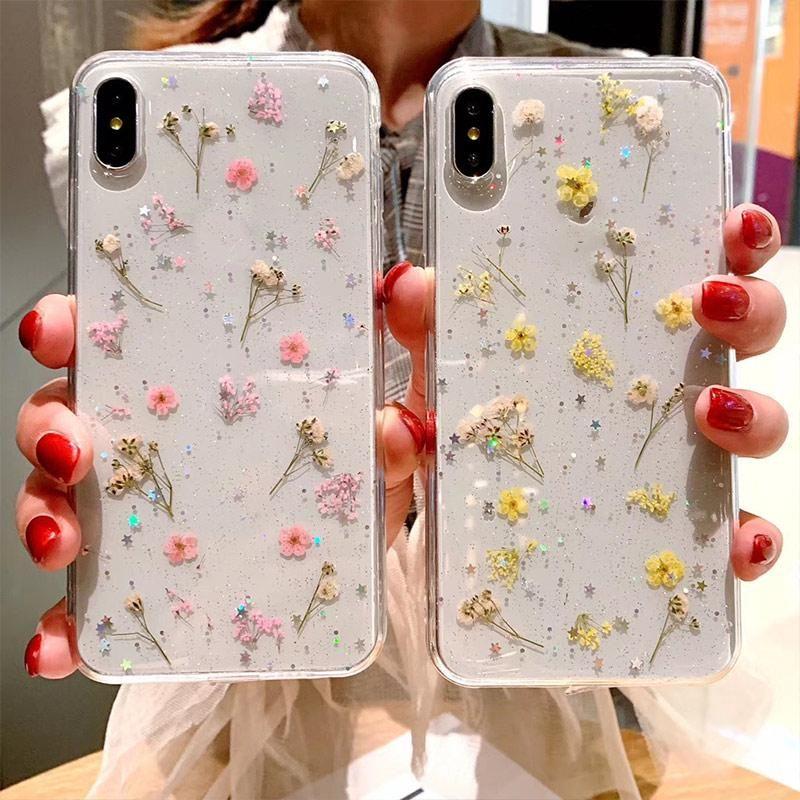 Полная крышка ручной работы реальные высушенные эпоксидные прессованные цветы чехол для телефона iPhone 11 Pro Max X XS XR 8 7 6 Plus
