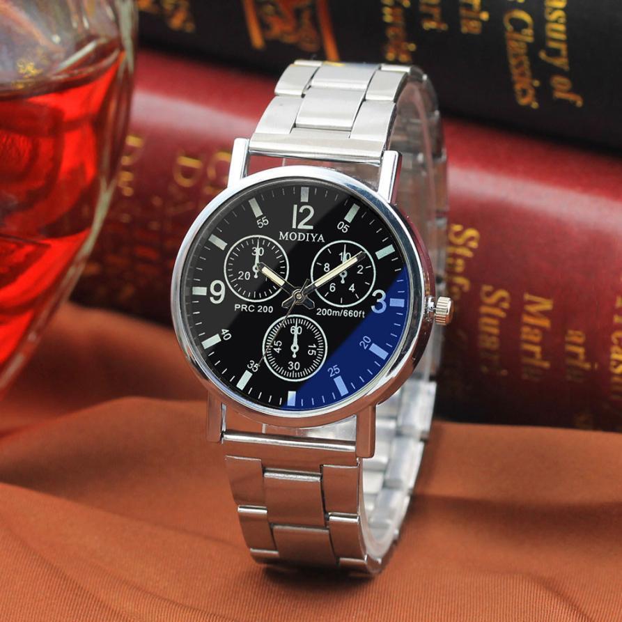 1Watches Hommes Horloge Homme Noir Noodles acier bleu Fibres de verre Montre Top Montre Homme Luxe Marque Casual inoxydable Erkek Kol Saati