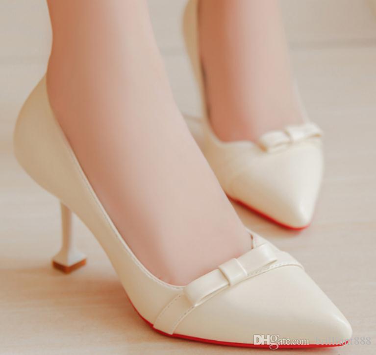 2018 бантом Женская обувь весной и осенью с новым стилем на высоком каблуке тонкой пятки указал конец@01