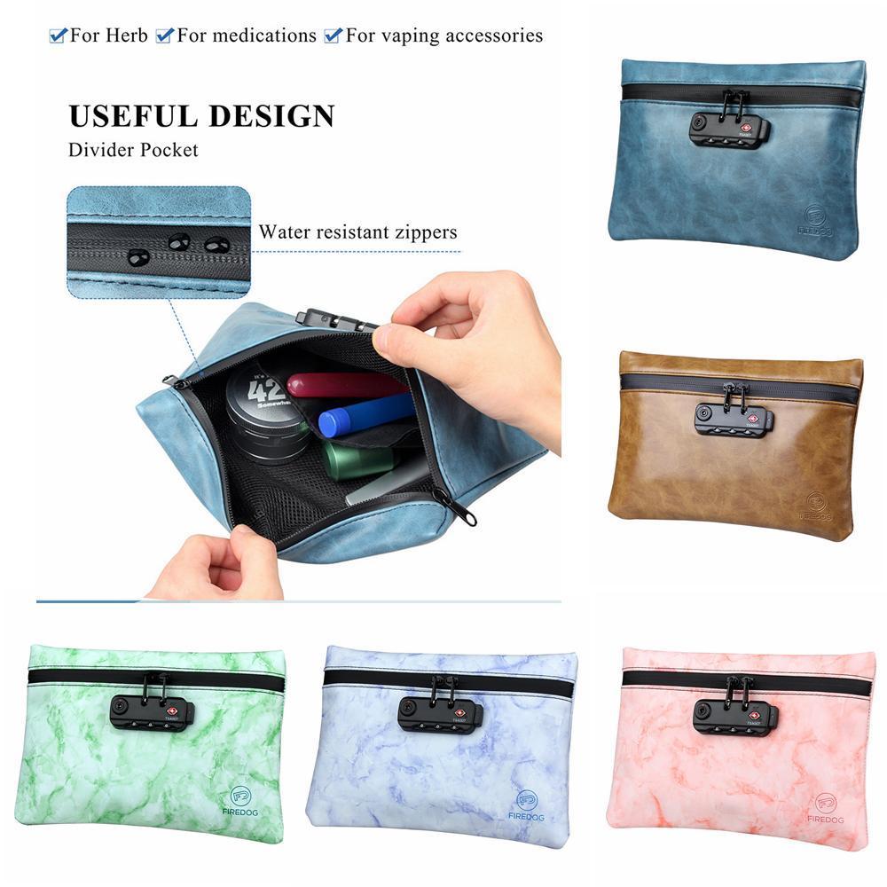 6styles Kanıtı Çanta PU Deri Fermuar Deodorant Bags Tütün Paketi ile Kilit Gizli Kilitleme Seyahat Taşınabilir depolama torbaları FFA3816 kokla